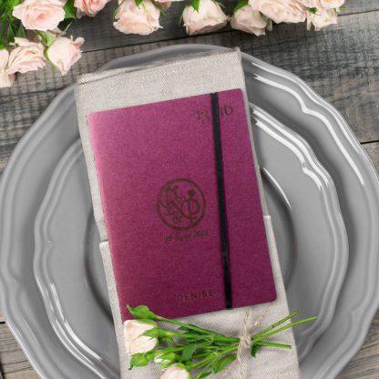 Quaderno bomboniera usato come segnaposto