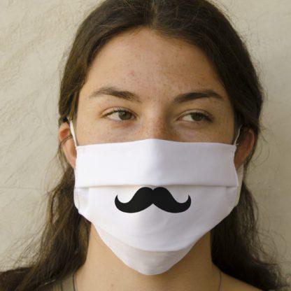 Mascherina con baffi personalizzabile in cotone