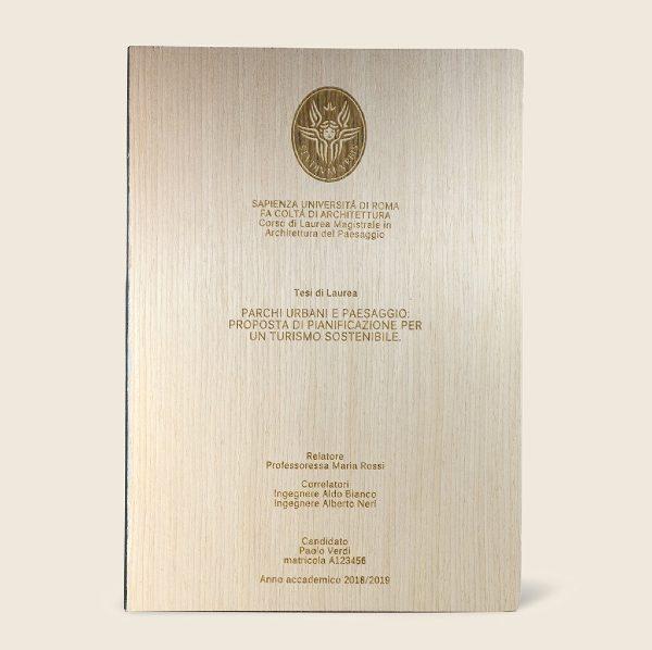 Tesi di laurea rilegata a mano con copertina in legno