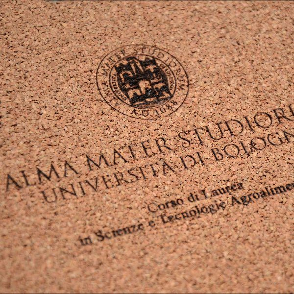 frontespizio tesi di laurea inciso a laser su copertina in sughero
